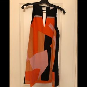 Orange/black/pink color-block mini dress